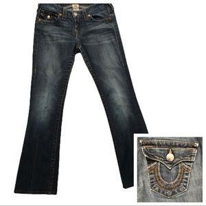 True Religion Boot Cut Staple Stitch Jeans Sz 27